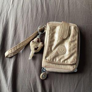 Kipling metallic Champagne Mini cellphone wallet